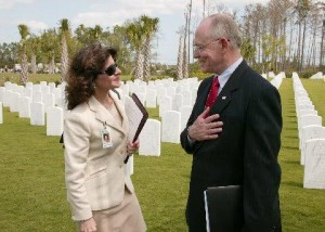 Rose Lee  covers grand opening of VA cemetary in Palm Beach County. James B. Peake Secretary of Veterans Affairs